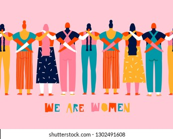 8 of march international women day greeting card. Feminism and women rights concept illustration for poster.