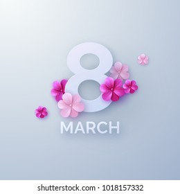 8 of March. International Womens Day. Vector paper cut illustration with pink paper flowers. Holiday origami style banner. Realistic festive decoration element for design. Feminism concept