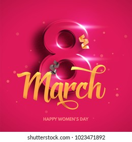 8 March. International Women's Day. Happy Mother's Day. Number 8 with ribbon text and confetti on background. Vector Illustration.