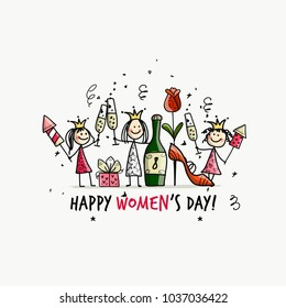 8 march, international women's day. Pretty girls with drinks for your design