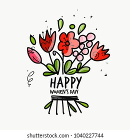 8 march, international women's day. Floral gift for your design