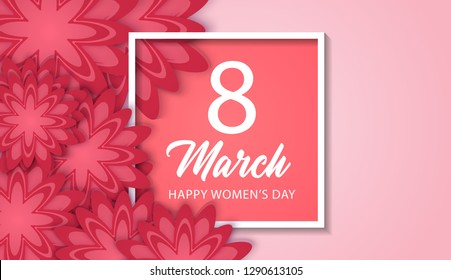8 March International Women's Day with red paper cut flower and square frame