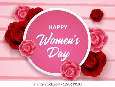 8 March International Women's Day with roses flowers and circle frame