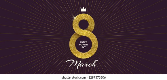 8 March International women's day greeting card - shining glitter gold ribbon in the shape of sign eight. Vector illustration.