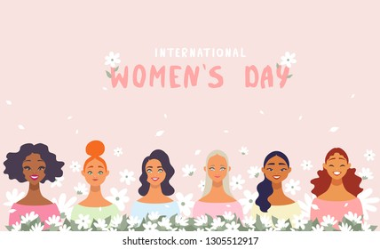 8 March, International Women's Day. Charming happy girls in flowers. Vector illustration
