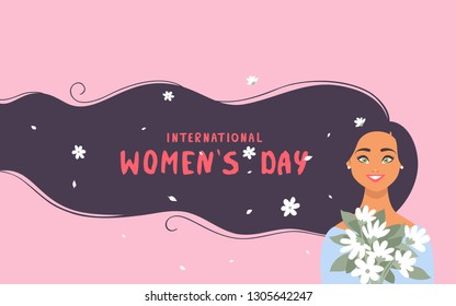 8 March, International Women's Day. Charming happy girl with long hair with sample text and flowers. Vector illustration
