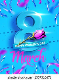 8 March. International Women's Day. Happy Mother's Day. Number 8 with text and confetti on background. Vector Illustration.