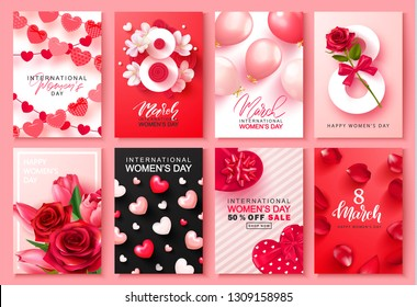 8 March international women's day Set of cards. Background for website , posters,ads, coupons, promotional material. Vector illustration.