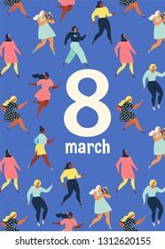 8 march, International Women's Day. Feminism concept template design. Vector illusttation.