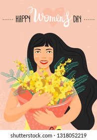 8 march, International Women's Day greeting card. Beautiful girl holding a bouquet of yellow mimosa flowers in her hands. Vector illustration.