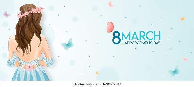 8 March, International Women's Day. The watercolor cute girl has drawn. A horizontal format design ideal for a web banner or greeting card.Vector illustration