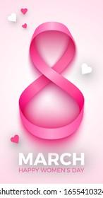 8 March. International Women's Day greeting card design. Pink ribbon. Vector illustration.