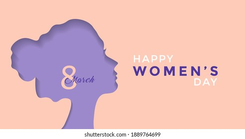8 March International Women's Day Vector Illustration Concept. Purple Paper Cutout Girl Face. Woman Head Illustration from Side View Happy Women's Day. Template for UI, Web, Banner, or Greeting Card.