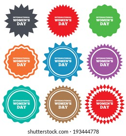 8 March International Women's Day sign icon. Holiday symbol. Stars stickers. Certificate emblem labels. Vector