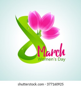 8 March, International Women's Day greeting card. Green figure eight and a bouquet of three pink tulips