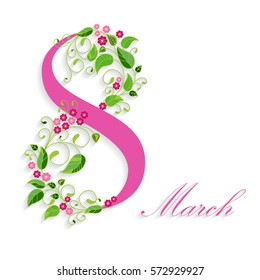 8 March, International Women's Day, greeting card. Vector illustration.