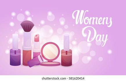 8 March International Womens Day Greeting Card Flat Vector Illustration