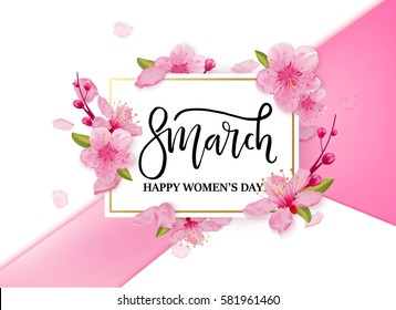 8 march international women's day background with flowers. Cherry blossoms romantic design.