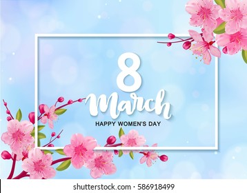 8 march international women's day background with flowers. Cherry blossoms composition for  romantic design.