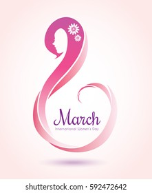 8 march, International women's day. Symbol or icon of womens day. Vector illustration.