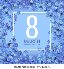 8 march international women's day background with flowers. Spring flovers composition for romantic design.
