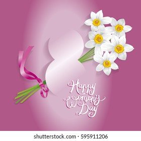 8 March International women's day greeting card calligraphy Vector illustration