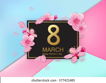 8 march modern background design with flowers. Happy women's day stylish greeting card with cherry blossoms.