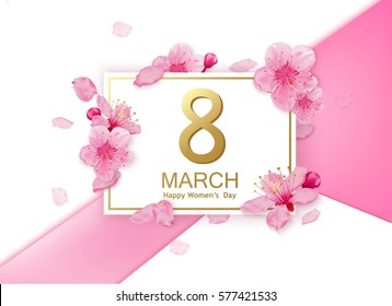 8 march modern background design with flowers. Happy women's day stylish greeting card with cherry blossoms.j