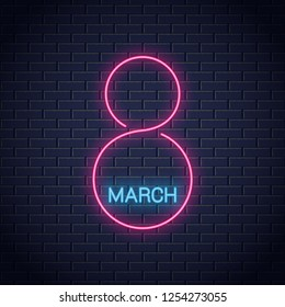 8 march neon sign. Womens day 8th march neon banner on wall background