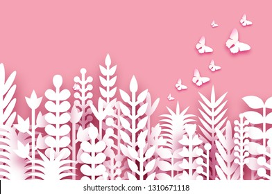 8 March. Origami Spring Flowers. Happy Womens day. Mixed white Paper cut flowers, tropical leaves, butterflies for window display. Space for text. Trendy coral .Mothers Day. Happy holidays