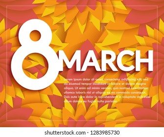 8 March, paper cut flower.Womens day Greetings card.Vector illustration