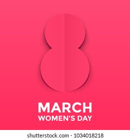 8 March paper cut out illustration for International Women's Day card. Happy Womens Day vector origami papercut number Eight on pink red dot background. Trendy 3D mothers day greeting card template