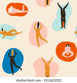 8 of march pattern. Empowered women illustration. Confident young girls characters in different poses seamless pattern in vector.