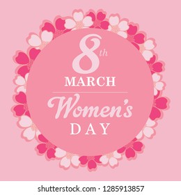 8 March. pink Floral Greeting card. International Happy Women s Day. flower holiday background with Square Frame and space for text. Trendy Design Template. Vector illustration - Vector illustration