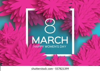 8 March. pink Floral Greeting card. International Happy Women's Day. Paper cut flower blue holiday background with Square Frame and space for text. Trendy Design Template. Vector illustration