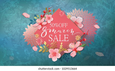 8 march sale banner with cherry blossoms, sakura, flowers, green marble, hand drawn floral design elements.