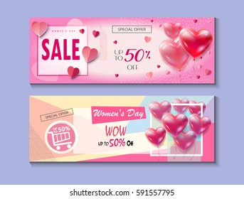 8 march. Sale Discount banners set for Happy Women's Day, Eighth March. Spring Holiday Sale gift card coupon. Futuristic modern design Marketing Advertise Vector International womens day mothers day 8