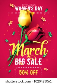 8 March sale flyer. International Women's Day. Happy Mother's Day. Flowers with confetti on red background. Vector Illustration.