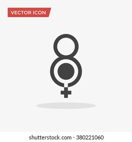 8 March symbol icon in trendy flat style isolated on grey background. Vector illustration, EPS10.