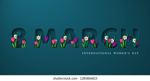 8 March typographic design for International Womens Day. 3d paper cut letters with spring flowers tulip and narcissus. Vector illustration.