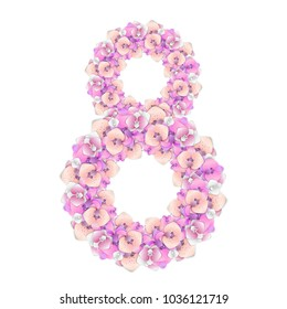 8 March vector design. Wreath of orchid flowers. Shape of the number 8. Template for International Women's Day card, poster, banner.
