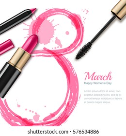 8 March vector greeting card, International Women's Day. Pink lipstick, mascara, pencil and watercolor number eight, isolated on white background. Concept for holiday banner, poster, background.