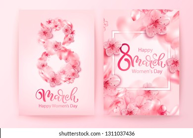 8 march vector illustration with cherry blossom flowers, flying petals. Pink sakura.  Happy women's day background. Woman cherry blur banner.
