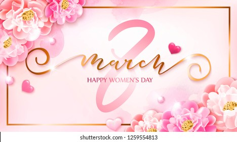 8 march vector illustration with peonies flowers, hearts.  Happy women's day background. Spring design with pink watercolor drop.