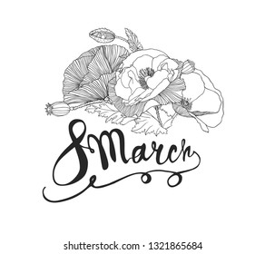 8 march.  Women Day. Vector congratulation card with linear poppy flowers
