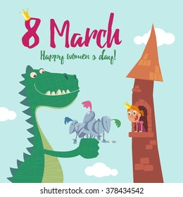 8 march women'c day greeting card, Dragon gives the princess a bouquet of knights