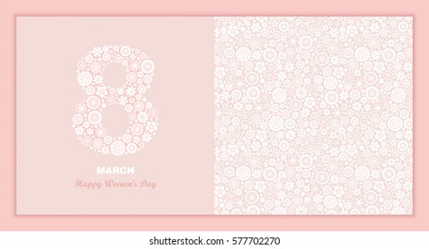 8 March Women's Day greeting card template. Vector illustration.