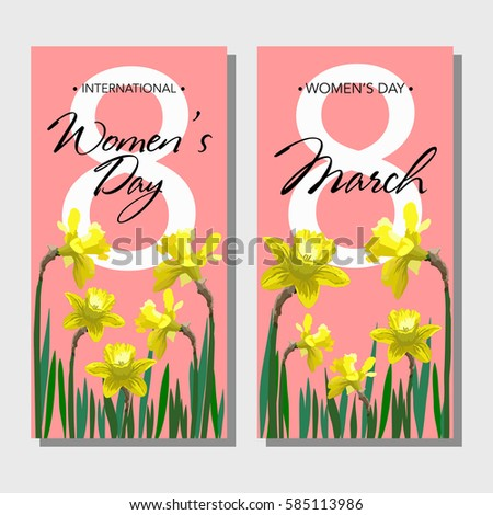8 March Womens Day Greeting Cards Set With Narcissus Flowers Vector Illustration