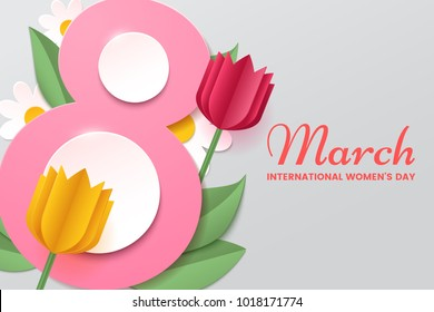 8 March. Women's day vector greeting card with decor of paper cut tulips, chamomiles and leafs. Number 8 in the style of cut paper. Applicable for web banner, flyer, cards and invitation.