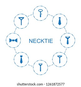 8 necktie icons. Trendy necktie icons white background. Included filled icons such as tie, bow tie. necktie icon for web and mobile.